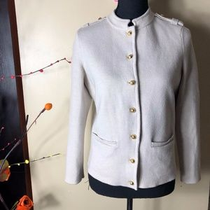 Talbots Petite Merino Wool Button Sweater Blazer